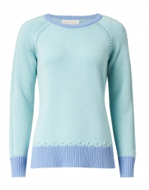 Mint and Blue Merino Wool Sweater