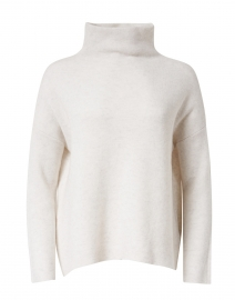 White Wool and Cashmere Funnel Neck Sweater