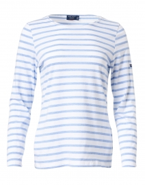 Minquidame White and Pale Blue Striped Cotton Top