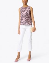 Aspesi - Pink and White Geometric Dot Printed Silk Top