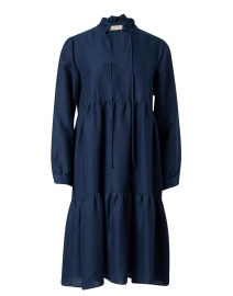 Navy Linen Tiered Dress
