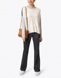 Lisa Todd - High Ambition Ivory Colorblocked Turtleneck Sweater