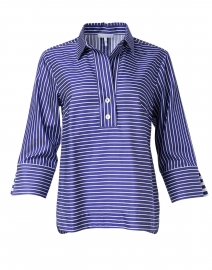 Aileen Marine Blue and White Striped Cotton Shirt