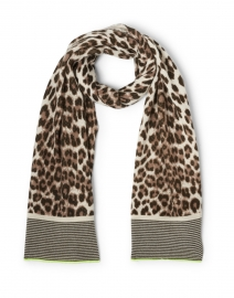 Spotted Beige Animal Printed Cashmere Scarf