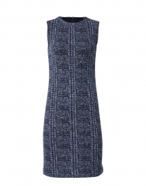 Diametro Navy and Blue Check Knit Dress