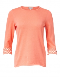 Coral Pima Cotton Crochet Knit Top