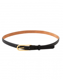 Black Leather Belt with Long Gold Buckle