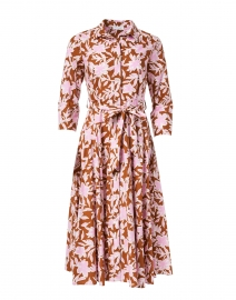 Pink and Brown Floral Cotton Shirt Dress