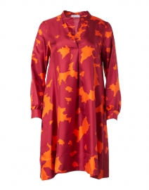 Red and Orange Abstract Print Silk Twill Dress