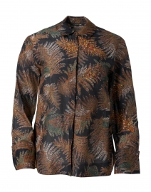 Nina Black Multi Leaf Print Cotton Silk Blouse