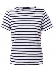 Etrille White and Navy Striped Cotton Top
