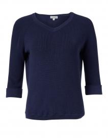 Kinross - Navy Pima Cotton Shaker Sweater