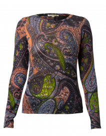Orange and Green Paisley Silk Cashmere Sweater