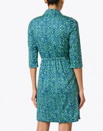 Gretchen Scott - Green and Navy Geometric Twist Front Dress