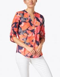 Vilagallo - Filippa Pink and Navy Floral Print Cotton Top