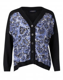 Black and Ink Blue Wool and Silk Knit Cardigan