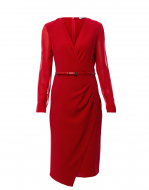 Manuel Red Stretch Wool Crepe Dress