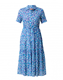 Eveline Blue Leopard Printed Cotton Shirt Dress