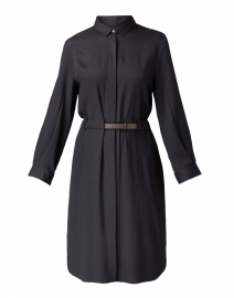 Charcoal Grey Chiffon Shirt Dress