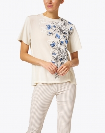 Weekend Max Mara - Jajce White and Blue Floral Stretch Cotton and Silk Tee