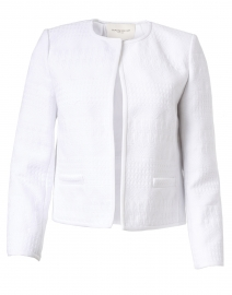 Kade White Mixed Stitch Cotton Short Jacket