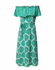 Aasha Green and White Printed Silk Dress