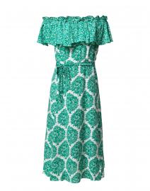 Aasha Green and White Printed Silk Dress