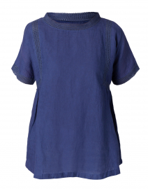 Indigo Blue Square Trim Blouse