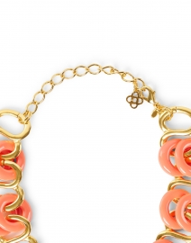 Kenneth Jay Lane - Coral and Gold Resin Rings Link Necklace