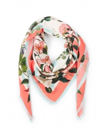 Nora Mint and Pink Floral Wool and Cashmere Scarf