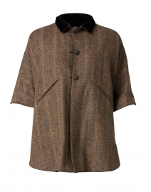 Camel Herringbone and Black Velvet Reversible Cape