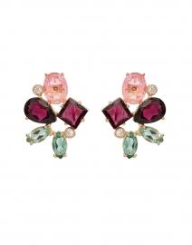 Rouge Garnet, Green Quartz, Crystal Rose Cluster Stud Earrings