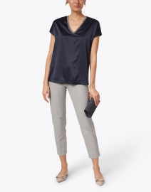 Fabiana Filippi - Navy Stretch Silk Blouse