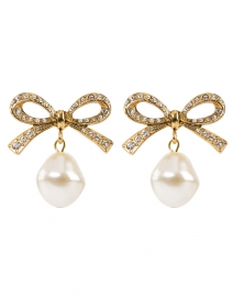 Noelle Antique Gold Pave Bow and Pearl Drop Earrings