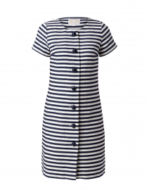 White and Navy Striped Jacquard Dress