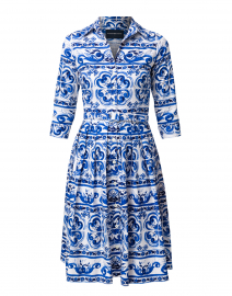 Audrey Blue Ibiza Tile Print Stretch Cotton Shirt Dress