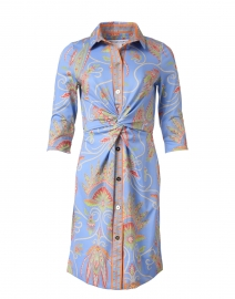 Periwinkle Plume Printed Twist Front Dress