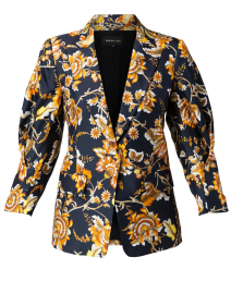 Maria Black and Orange Floral Silk Blazer