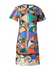 Angie Blue and Orange Printed Stretch Cotton Dress