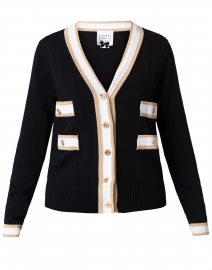 Edward Achour - Black, Beige, and White Knit Cardigan