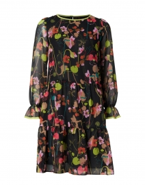 Black and Floral Chiffon Dress