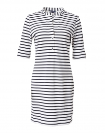 Carcassonne White and Navy Striped Jersey Dress