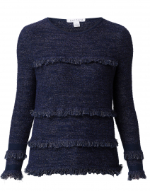 Navy Boucle Fringe Trim Cotton Sweater