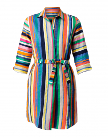 Adriana Multicolored Striped Linen Dress