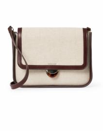 Lourdes Canvas and Espresso Leather Crossbody Bag