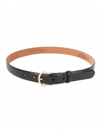 Black Embossed Crocodile Leather Belt
