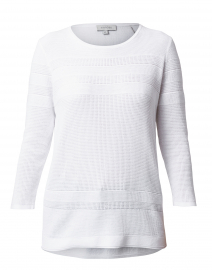 White Mixed Stitch Cotton Sweater