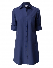 Alex Navy Silky Poplin Shirt Dress