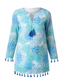 Blue Water Hues Coral Print Tunic