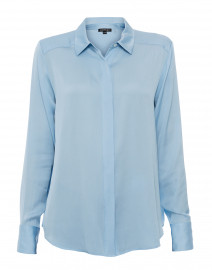 Sky Blue Stretch Silk Button Down Shirt